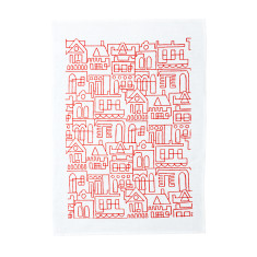 Terrace tea towel red on white