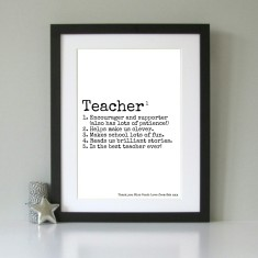 Personalised gift for teacher art print