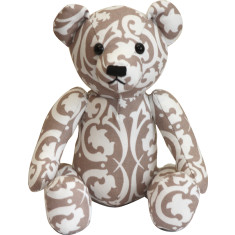 Teddy bear in beige damask