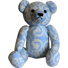 Teddy bear in blue damask