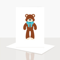 Teddy Bear Boy Greeting Card (Pack of 8)