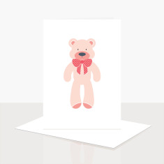 Teddy Bear Girl Greeting Card (Pack of 8)