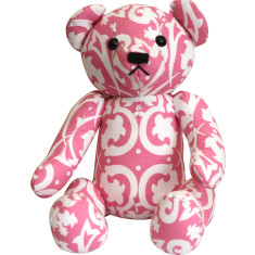 Teddy bear in pink damask
