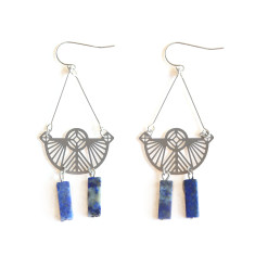 Stainless Steel Petra Earring - Lapis