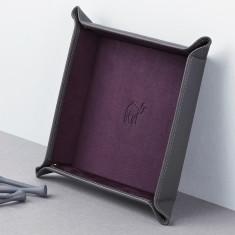 Embossed Travel Motif Pop-Up Leather Coin Tray