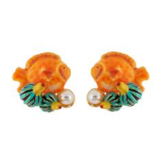 Orange fish and freshwater pearl earrings