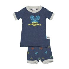 Boys' tennis print shortjohn pj set
