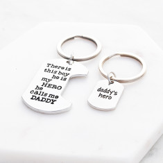Daddy's hero keyring or necklace gift set