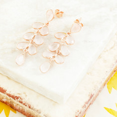 Rosie Flutter Earrings With Rose Quartz