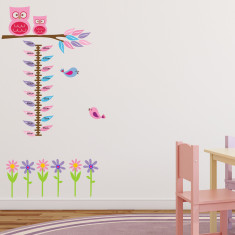 Owls, Flowers and Birds Height Chart Wall Sticker