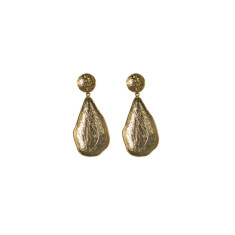 Textured teardrop stud earrings in gold