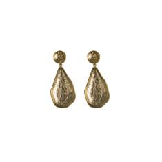 Textured teardrop stud earrings in gold