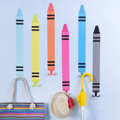 Six Crayon Shape Wall Stickers & Hooks