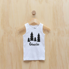 Personalised Christmas Monochrome Trees singlet