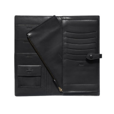 Personalised men's leather travel folio in black