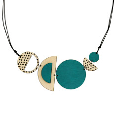Semi- circle spots necklace in green
