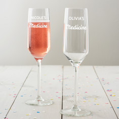 Personalised 'Medicine' Champagne Flute