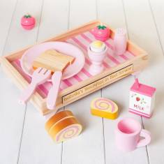 Personalised Wooden Pink Breakfast Set