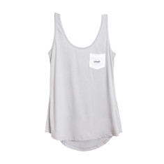 Watch your back scoop singlet in grey/white
