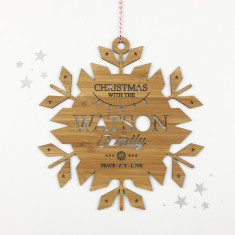Personalised Christmas Snowflake bamboo wall hanging