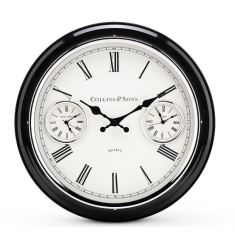 Multi Time Black Metal Wall Clock 41cm by Toki