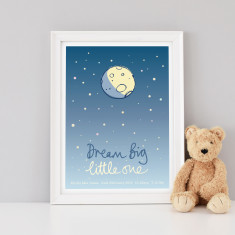 Personalised Dream Big Little One Nursery Art Print