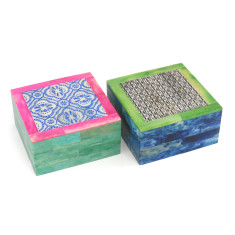 Bone boxes in Andalusian patterns (set of 2)