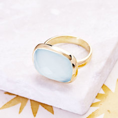 Candy Ring In Gold Plate With Aqua Chalcedony