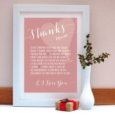 Thanks mum personalised print
