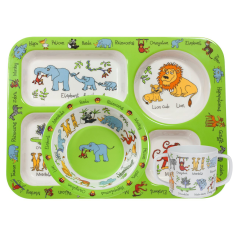 Tyrrell Katz Jungle Animals Melamine Compartment Tray Set (Tray, Bowl and Training Cup)