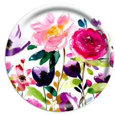 Red rose round tray