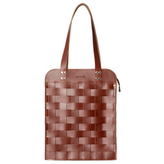 Leather Naver big shoulder bag in Brick