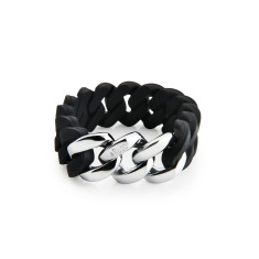 Iconic woven bracelet in black & silver