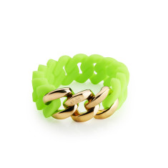 Woven bracelet in green & gold