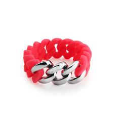 Woven bracelet in pink & silver