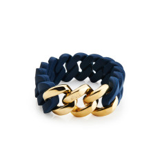 Woven bracelet in navy blue & gold