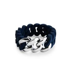 Woven bracelet in navy blue & silver