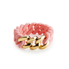 Woven bracelet in baby pink & gold