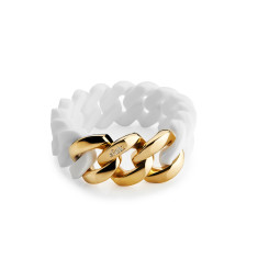 Woven bracelet in white & gold
