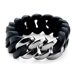 Woven bracelet in black & gun metal