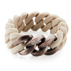 Woven bracelet in desert sand & antique-style rose gold