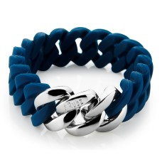 Slim woven bracelet in navy & silver