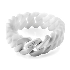 Slim woven bracelet in white & shiny white