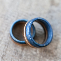 Recycled Skateboard wedding rings (set of 2)
