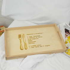 Breakfast In Bed Personalised Wooden Breakfast Tray