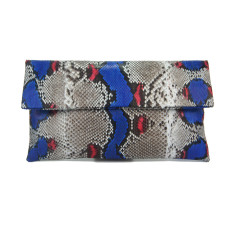Cobalt red motif python leather classic foldover clutch
