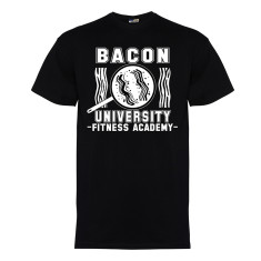 Bacon university men's t-shirt in white on black