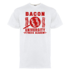Bacon university t-shirt in red on white