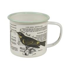 Thoughtful gardener enamel bird mug