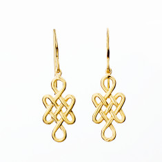 Tibetan love knot earrings in gold or rose gold plate